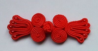 6 pairs red bead knots Chinese Frogs buttons sewing zen fashion