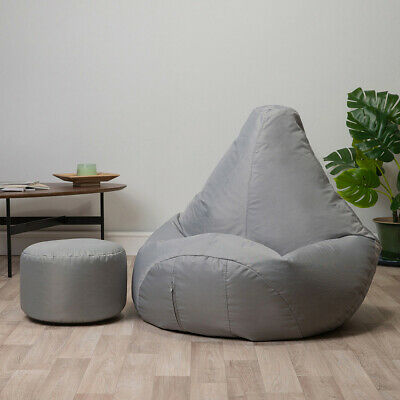 Bean Bag with Foot Stool Gamer Chair Indoor Outdoor Garden Beanbag Seat Gaming