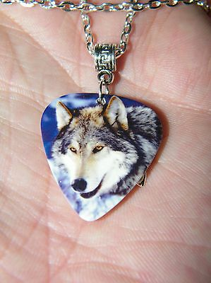 """Grey Wolf Necklace Silver Charm Guitar Pick Wolves 23"""" Silver Plated Chain New!"""