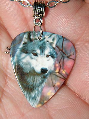 "GUITAR PICK WOLF Necklace WOLVES Picture Silver WOLF Charm 23"" Silver Chain NEW!"
