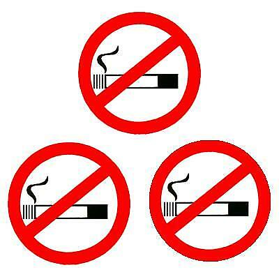3 No Smoking Window Stickers White Background Taxi Or Minicab