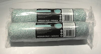 2 x HAMILTON PERFECTION 12 INCH MEDIUM PILE ROLLER SLEEVES MICROFIBRE BLEND