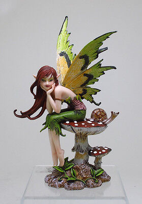 """Amy Brown Thinking Of You Fairy Tabletop Statue 6.25""""h Mushroom Fairy Pondering"""