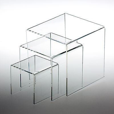 "3 Clear Acrylic Display Riser (3"", 4"", 5"" ) Jewelry Showcase Exhibit Fixtures"