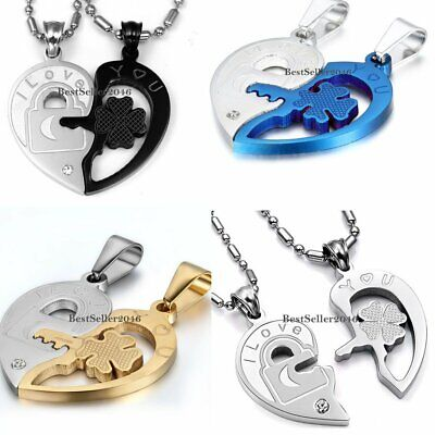 Couple Necklaces I Love You Lock and Key Heart Pendant Stainless Steel 1 Pair