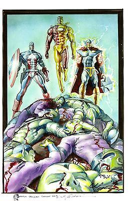 AVENGERS CAP - IRON MAN - THOR ART PRINT Signed by MARK TEXIERA Includes Sketch
