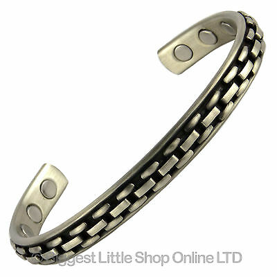 Mens Magnetic Therapy Bangle Bracelet Copper/Pewter NEW 6 Rare Earth Magnets BIO