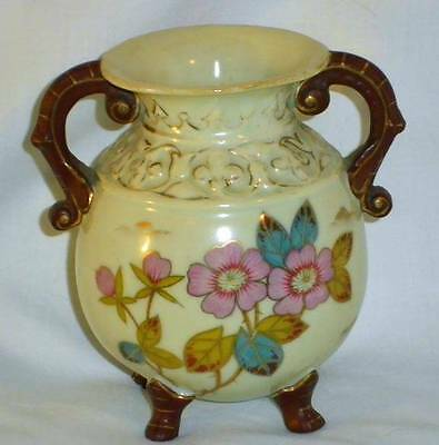 Antique Victoria Carlsbad Bohemia Hand Painted Footed Vase w/ Gold Trim