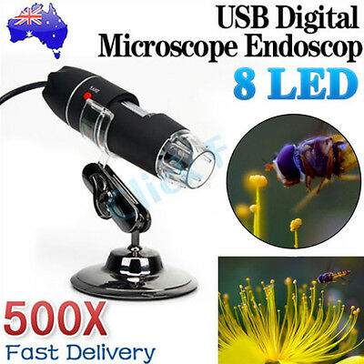 500X 8 Digital LED USB Microscope Zoom 2MP Endoscope PC Camera Video Magnifier