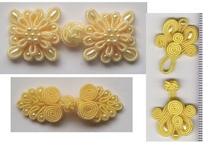 Chinese Frogs closure bead buttons yellow 9 pcs sewing 3 different styles NEW