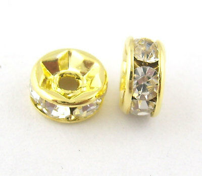 Wholesale Mixed Lots Gold Plated Rondelles Rhinestone Spacer Beads 6mm