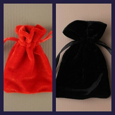 Velvet Pouch Bag Red Black Jewellery Medal Coin Gift Various Sizes Jewelry New
