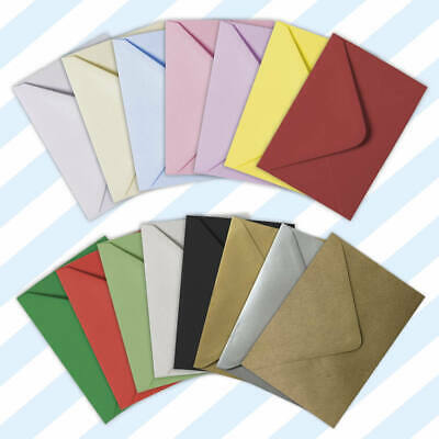 C6 (A6) 114 x 162mm 15 Colours-100gsm Gummed Greeting Envelopes White/Coloured