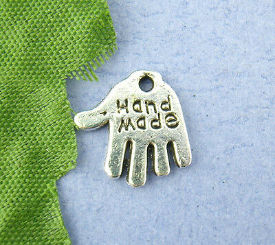 Wholesale Mixed Lots Silver Tone Hand Palm Charm Pendants 11x12mm