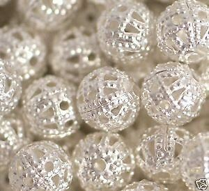 Silver Plated Beads 6mm for Artwork Jewellery making Craft - Pack of 100pcs