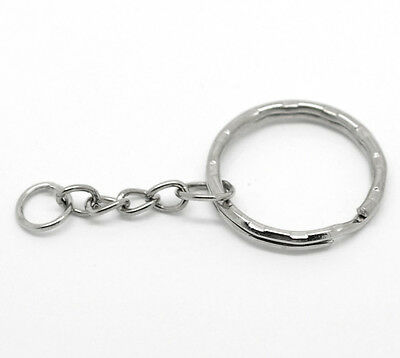 "Wholesale Lots Silver Tone Key Chains & Key Rings 53mm(2 1/8"") long"