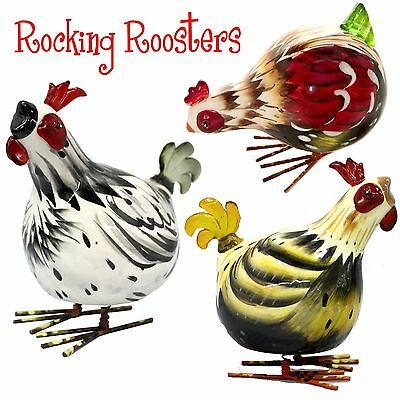 Mini Rocking Roosters - Ceramic Chickens - Black/White, Red & Brown in 3 poses
