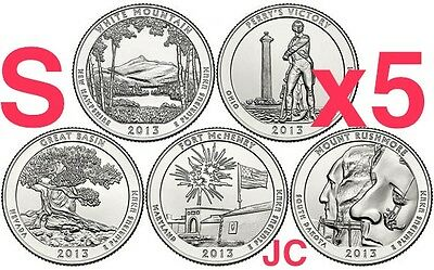2013 S All 5 National Parks Quarter Set Uncirculated From New Us Mint Roll Coins