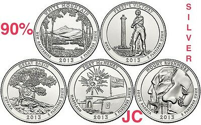 2013 S White Mt Rushmore Perrys G Basin ATB 90% Silver Quarter Proof Set US Mint