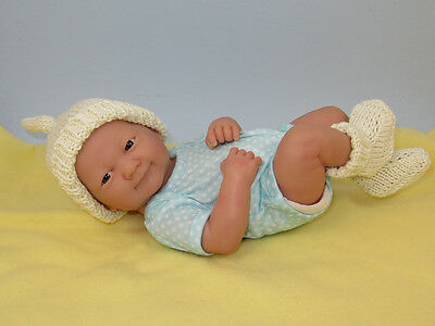 Knitting Pattern Just For Preemies Premature Baby Topknot Beanie & Booties Set