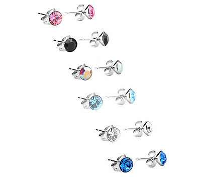 Pair Of Crystal Cz Round Surgical Stainless Steel Stud Earrings 316l Studs