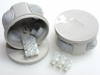 2 x 65mm round junction box with 15 amp connector strip IP44 splashproof small