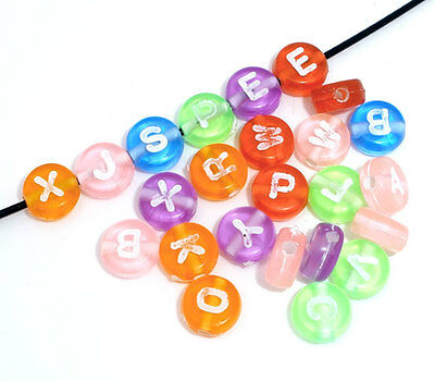 Wholesale Lots Mixed Transparent Acrylic Alphabet Letter Spacers Beads 7mm