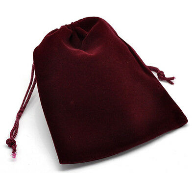 Wholesale Lots Dark Red Velvet Pouch Jewelry Bags With Drawstring 12x10cm