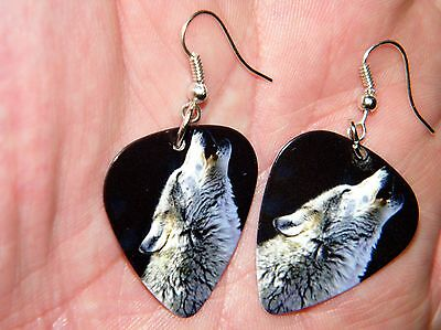 WOLF EARRINGS HOWLING GRAY WOLVES SILVER PLATED EAR WIRES PIX on Guitar Pick NEW