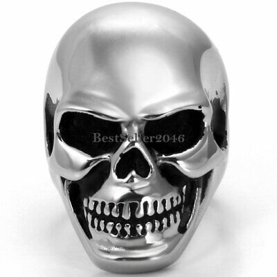 Stainless Steel Silver Men Punk Goth Huge Heavy Skull Biker Band Ring Size 7-14