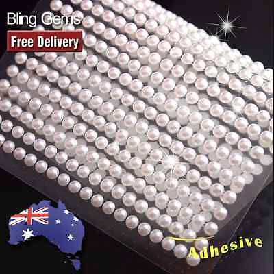 560-750pcs 3mm-4mm Ivory White Pearls Gems Self Adhesive Sticker on Crystals