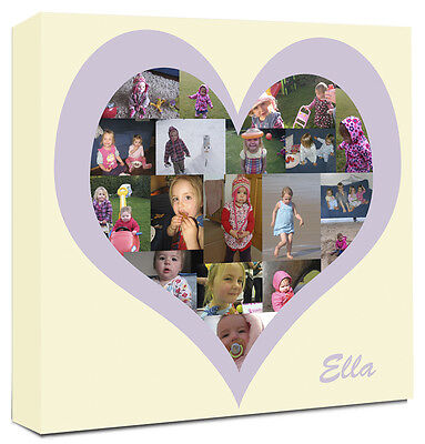 Heart Shape Photo Collage Canvas Personalised