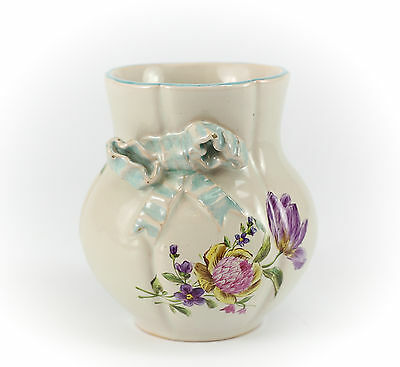 Antique French Pottery Small Vase Emile Galle' Charming Bow in high relief