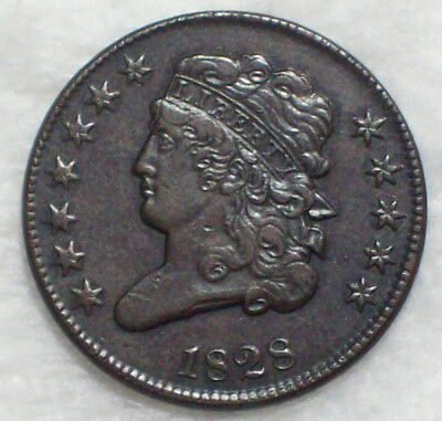 1828 HALF CENT Classic Head *RARE 12 STAR* Strong XF+ Amazin Original Brown Tone