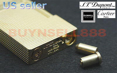 Dual Gas Refill Adapters + 8 Flints for ST Dupont lighter Line 1/2 Gold Cap