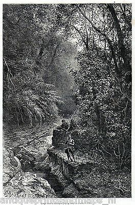 Antique print Formosa Taiwan 1875 river / forest