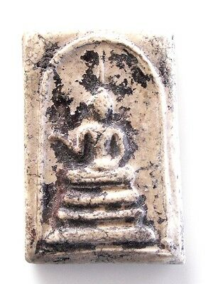 Rare 'Pra Somdej Lang Lai Sen' white clay Buddhist Amulet for Good Fortune