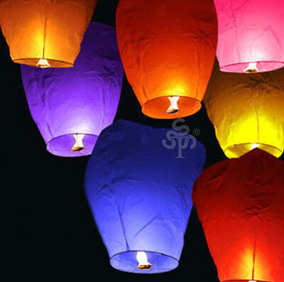20pcs Chinese wish Lanterns paper lamp sky flying fire Party lights Multi Colors