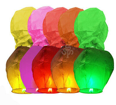 20pcs Chinese Rainbow Sky Fire Floating Lanterns 7 Color Beautiful Party Lamp