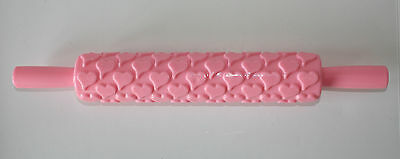 Heart Embossing Rolling Pin Sugarcraft, Cake Decorating *NEW* Pink