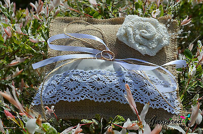 Rustic Vintage Wedding Hessian Burlap Ring Cushion with White Lace Ribbon