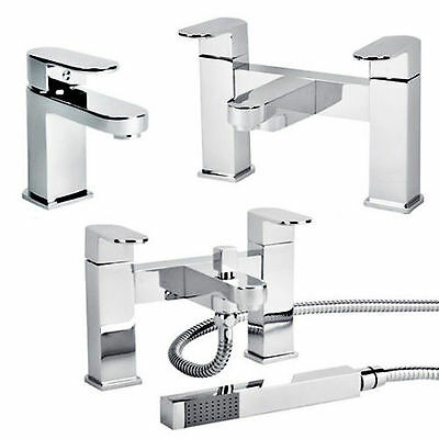 Chrome Bathroom Taps Lever Set Basin Mono Sink Bath Filler Shower Mixer Tap