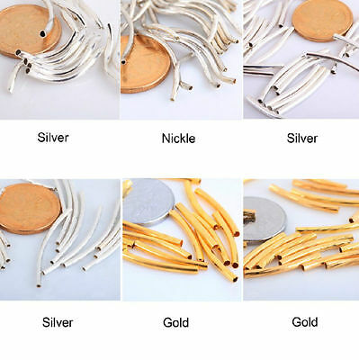 Free Shipping 100pcs Smooth Curved Tube Spacer Beads Gold/Silver/Nickel Copper