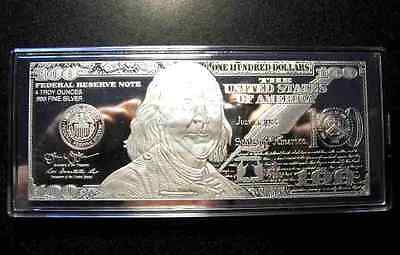 2019 PROOF 4 oz CURRENCY SILVER BAR FRANKLIN $100 VELVET BOX AIR-TITE COA