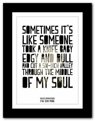 ❤ BRUCE SPRINGSTEEN - I'm On Fire  ❤ lyric poster typography art print - 4 sizes