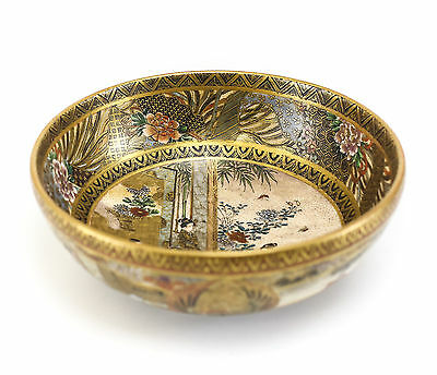 Antique Japanese Bowl Satsuma Pottery Handpainted with Gold Gilt