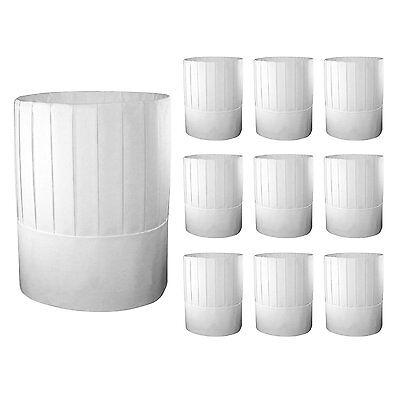 """Disposable Chef's Hat, 9"""", 10 Hats White Cooking Food Serving Paper Hats"""