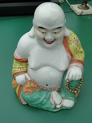 Laughing Buddha Ceramic Statue Made In Hong Kong   ---   W.c.w.