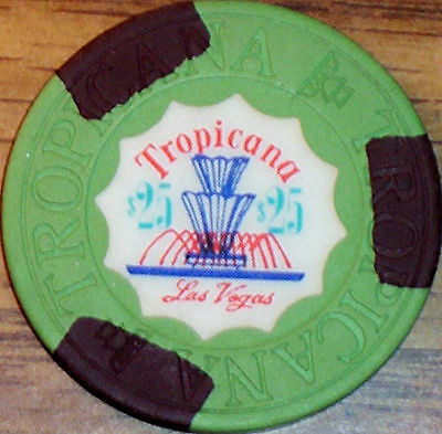 Old $25 TROPICANA Casino Poker Chip Vintage Antique House Mold Las Vegas NV 1972