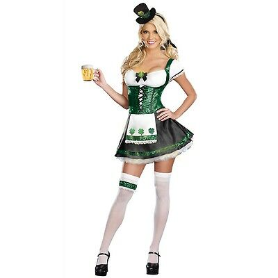 St Patricks Day Costume Adult Irish Girl Outfit Halloween Fancy Dress